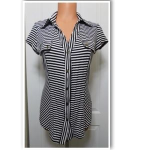 Cache Tops - CACHE Black-White Striped Stretchy Fitted Top